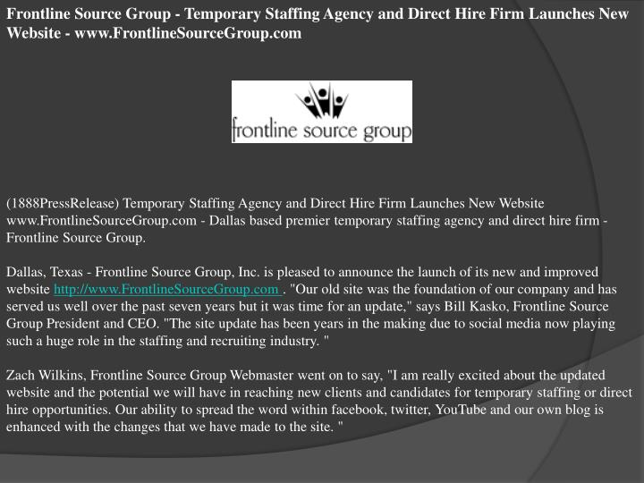 Frontline Source Group - Temporary Staffing Agency and Direct Hire Firm Launches New Website - www.F...