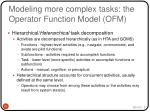 modeling more complex tasks the operator function model ofm