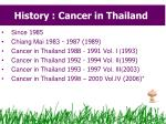 history cancer in thailand