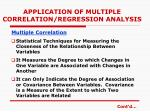 application of multiple correlation regression analysis