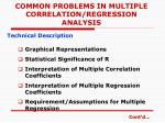 common problems in multiple correlation regression analysis