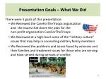 presentation goals what we did