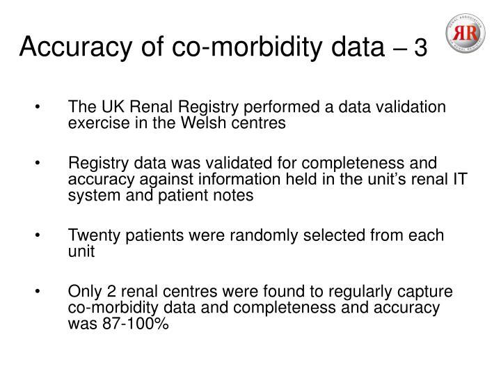 Accuracy of co-morbidity data