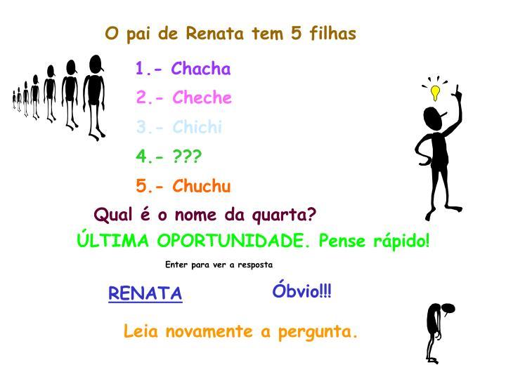 O pai de Renata tem 5 filhas