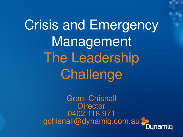 crisis and emergency management the leadership challenge n.