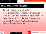 a n a z of 50 banking risk types