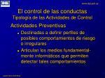 el control de las conductas tipolog a de las actividades de control