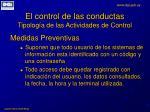 el control de las conductas tipolog a de las actividades de control1