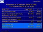 el impacto de la reforma tributaria 2007 contribuyentes despu s de ley 18 083