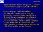 incompatibilidades de car cter general art culo 9 del decreto del poder ejecutivo n 166 20052