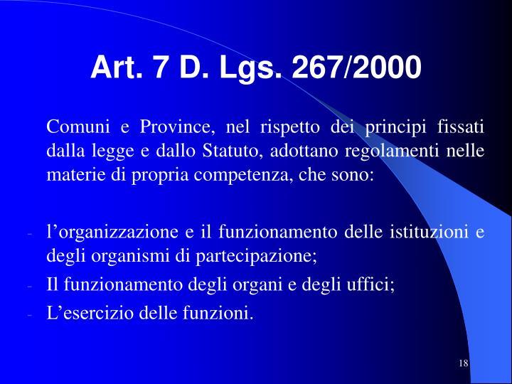 Art. 7 D. Lgs. 267/2000