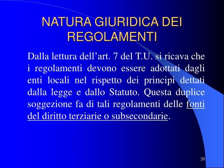 NATURA GIURIDICA DEI REGOLAMENTI