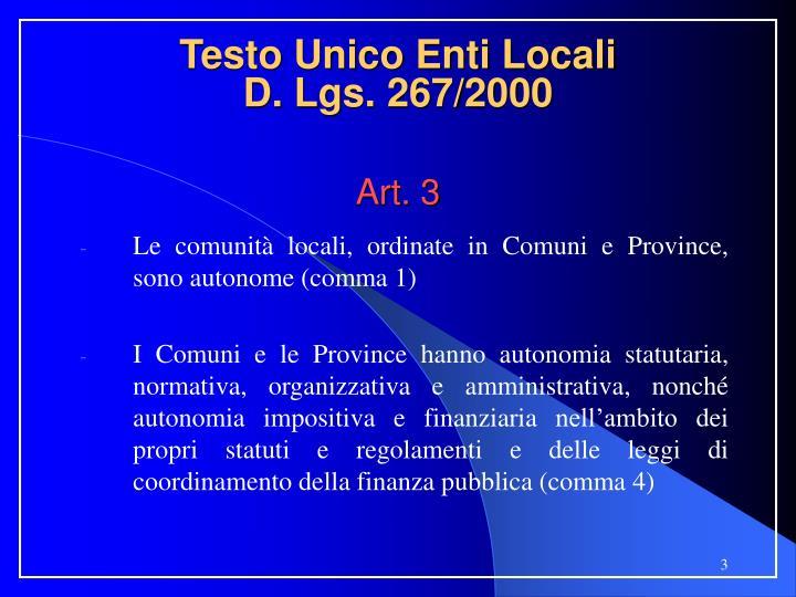 Testo unico enti locali d lgs 267 2000