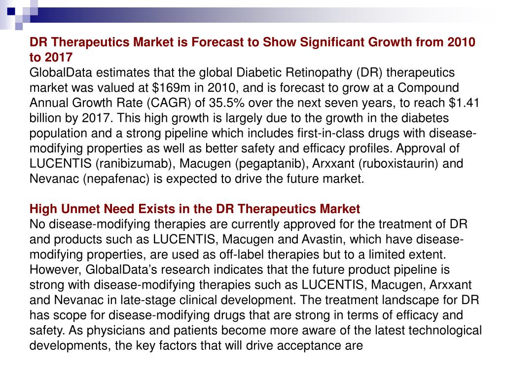 DR Therapeutics Market is Forecast to Show Significant Growth from 2010 to 2017