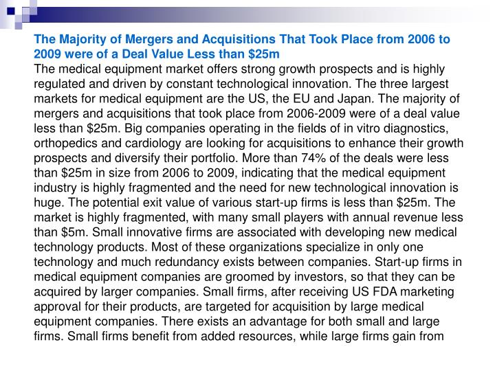 The Majority of Mergers and Acquisitions That Took Place from 2006 to 2009 were of a Deal Value Less...