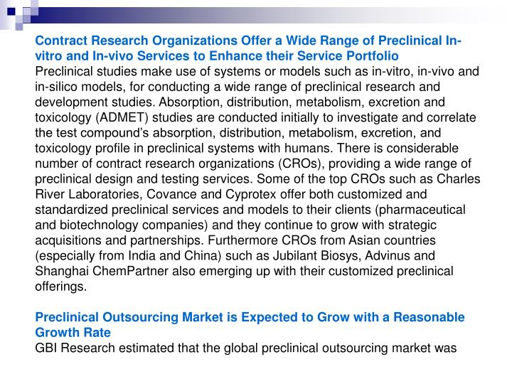 Contract Research Organizations Offer a Wide Range of Preclinical In-vitro and In-vivo Services to E...