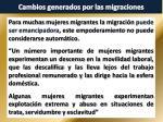 cambios generados por las migraciones