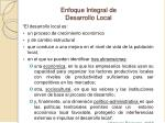 enfoque integral de desarrollo local