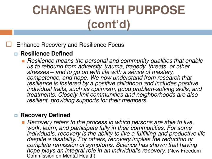 Changes with purpose cont d