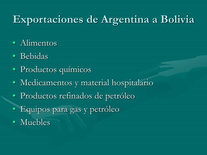 Exportaciones de Argentina a Bolivia