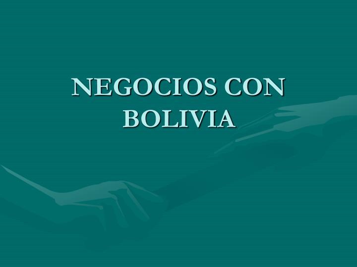 NEGOCIOS CON BOLIVIA
