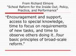 from richard elmore school reform for the inside out policy practice and performance