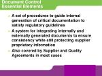 document control essential elements