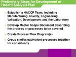 preliminary steps for development of hazard analysis plan