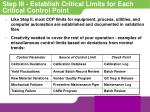 step iii establish critical limits for each critical control point