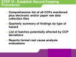 step vi establish record keeping procedures