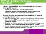 step vii establish verification procedures