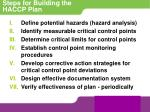 steps for building the haccp plan