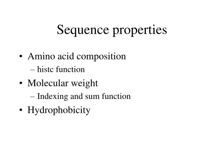 Sequence properties
