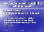 4 programmawet van 9 juli 2004 vervolg