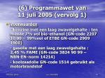 6 programmawet van 11 juli 2005 vervolg 1