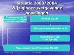 situatie 2003 2004 wijzigingen wetgevende bepalingen