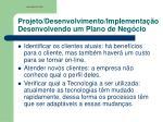 projeto desenvolvimento implementa o desenvolvendo um plano de neg cio
