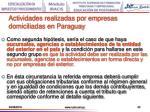 actividades realizadas por empresas domiciliadas en paraguay