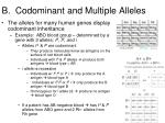 b codominant and multiple alleles