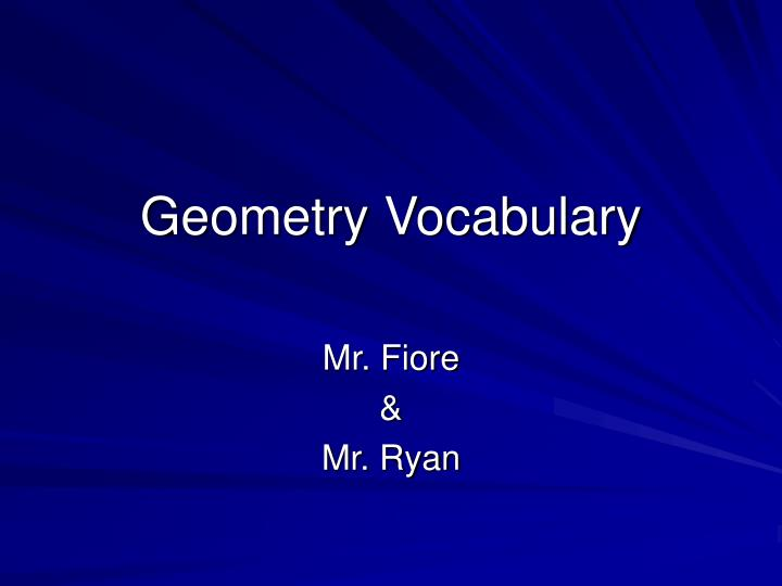 geometry vocabulary n.