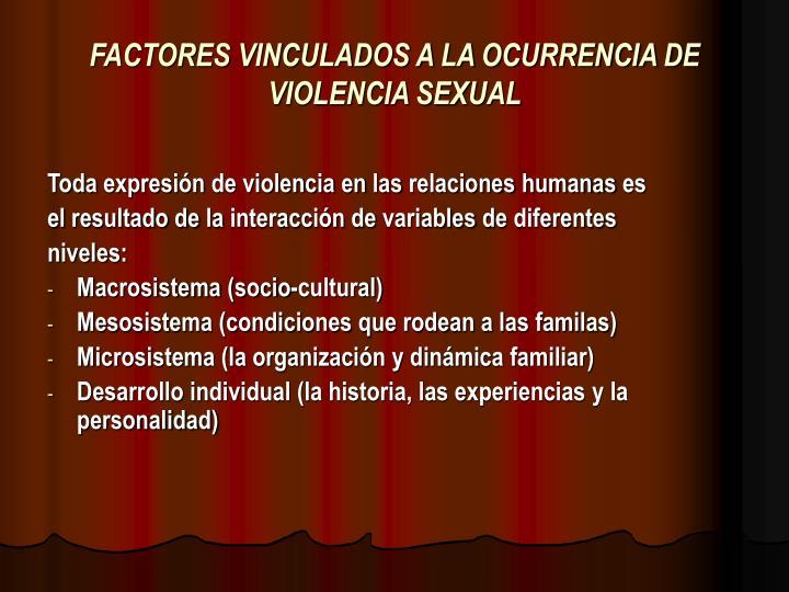 FACTORES VINCULADOS A LA OCURRENCIA DE VIOLENCIA SEXUAL