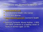 resources on women s health
