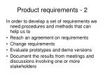 product requirements 2