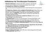 indikationen f r thrombozyten transfusion