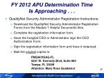 fy 2012 apu determination time is approaching2