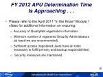 fy 2012 apu determination time is approaching3