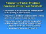 summary of factors providing functional diversity and specificity