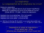 le respirateur la compensation de la compliance du circuit