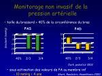 monitorage non invasif de la pression art rielle