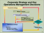corporate strategy and key operations management decisions